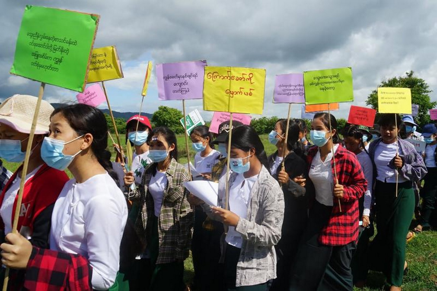 Handout photo from the KNU, taken on May 13, shows teachers in uniforms taking part in A civil disobedience movement demonstration against the military coup in Dooplaya district in Myanmar's Karen state. (Photo: KNU Dooplaya district/ AFP)
