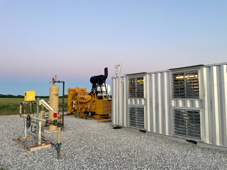 A handout photo from Giga Energy Solutions shows a natural gas generator powering a bitcoin mining center in north Texas in May 2021.