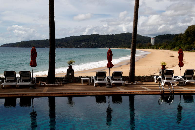 FILE PHOTO: An empty hotel and beach which have opened for visitors is seen in Karon, Phuket Island, March 31, 2021. (Reuters)