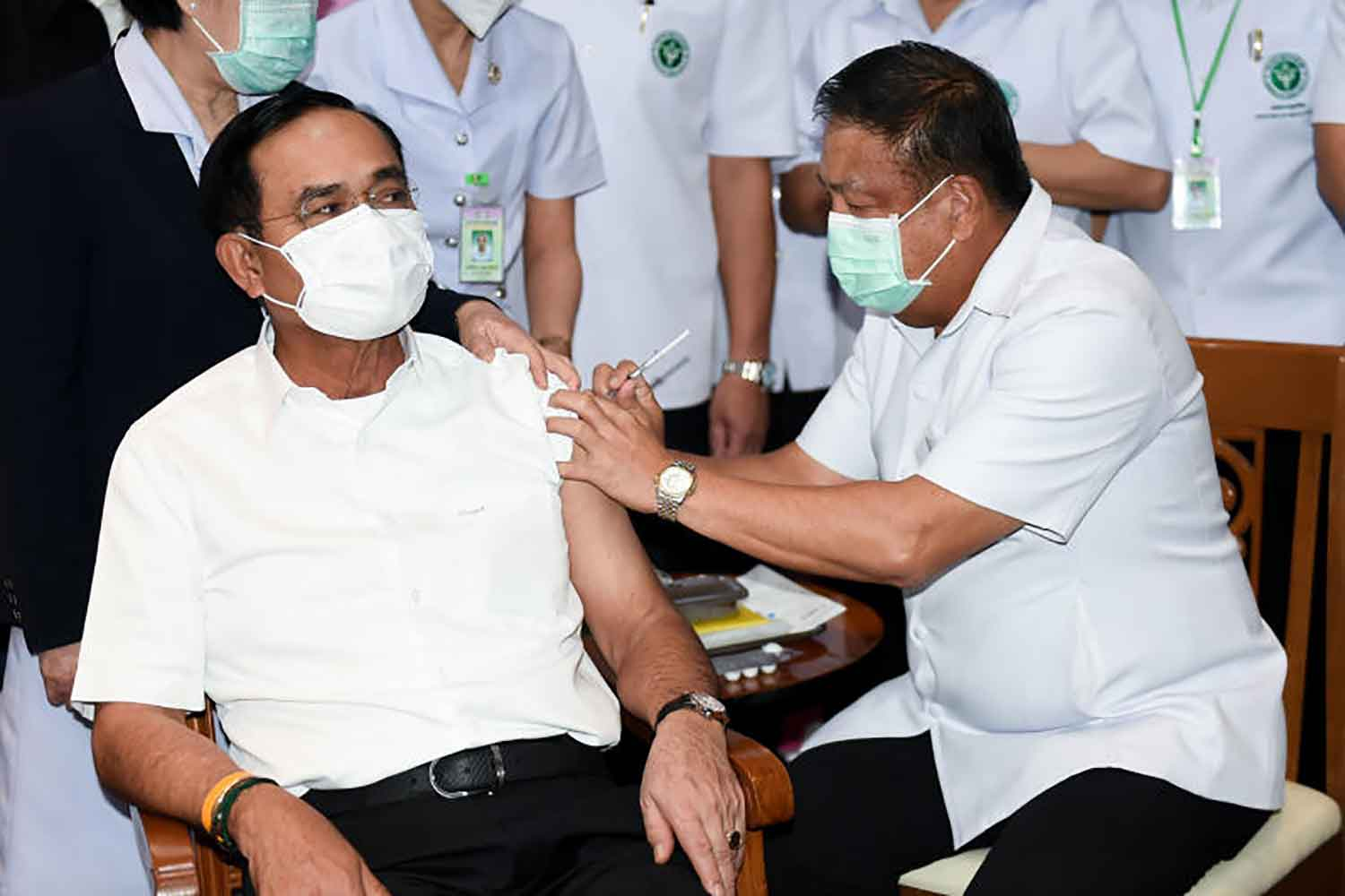 Prime Minister Prayut Chan-o-cha gets his second shot of the AstraZeneca Covid-19 vaccine on Monday at Bamrasnaradura Infectious Disease Institute in Nonthaburi province. He received his first jab on March 16. (Government House photo)