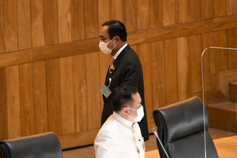 Prime Minister Prayut Chan-o-cha during the budget debate in Parliament on Monday. (Parliament photo)
