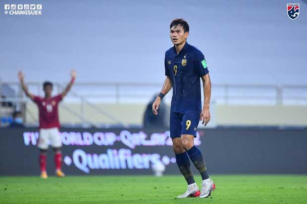 Adisak Kraison reacts during a match between Thailand and Indonesia in Dubai on Thursday. (Football Association of Thailand photo)