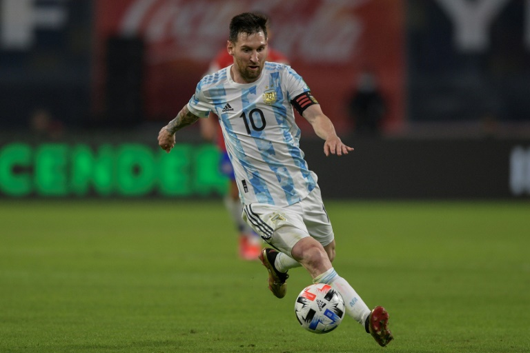 Argentina captain Lionel Messi scored a penalty and hit the woodwork with a freekick but was denied three times by fine saves from Chile goalkeeper Claudio Bravo.