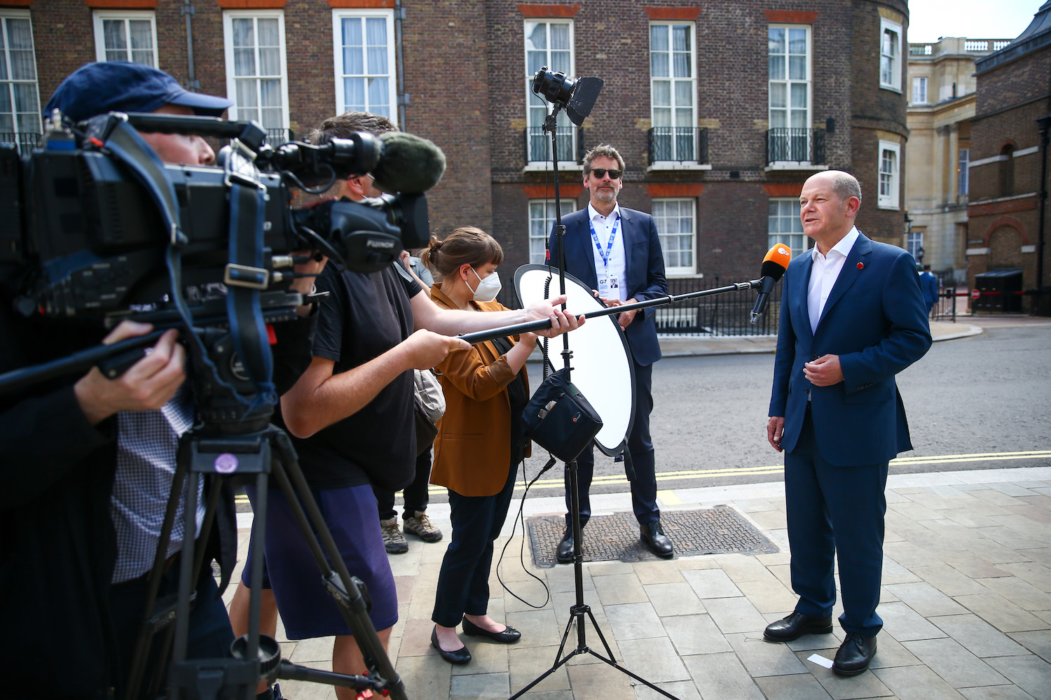 Olaf Scholz, Germany's finance minister, speaks to reporters on the final day of the Group of Seven Finance Ministers' meeting in London on Saturday. (Bloomberg Photo)