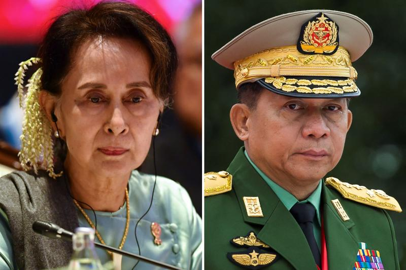 In this combination of file photos created on Nov 14, 2019, Myanmar State Counsellor Aung San Suu Kyi attends the 35th Association of Southeast Asian Nations (Asean) Summit in Bangkok on Nov 4, 2019 (left) and Myanmar military chief Senior General Min Aung Hlaing attends the 71st anniversary of Martyrs' Day in Yangon on July 19, 2018. (AFP photos)