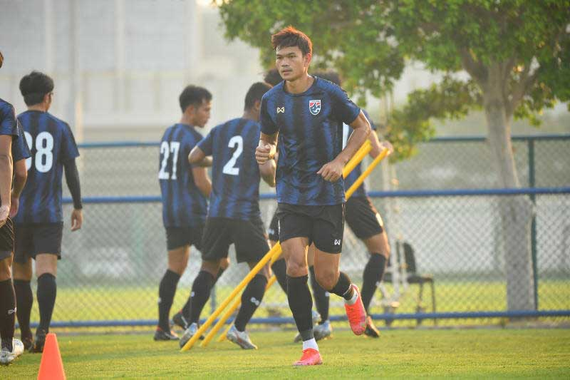 Thailand striker Adisak Kraisorn takes part in a training session ahead of Monday night's game against the United Arab Emirates.
