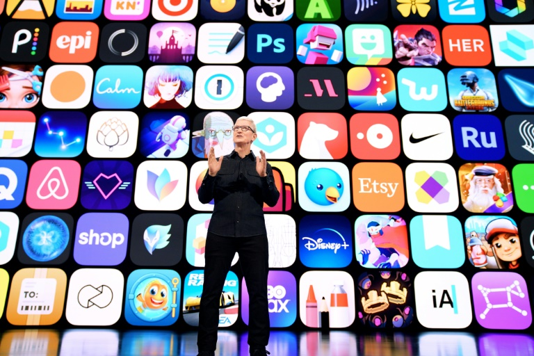 This handout image shows Apple CEO Tim Cook addressing the Worldwide Developer Conference on Monday where it unveiled updates to software platforms.