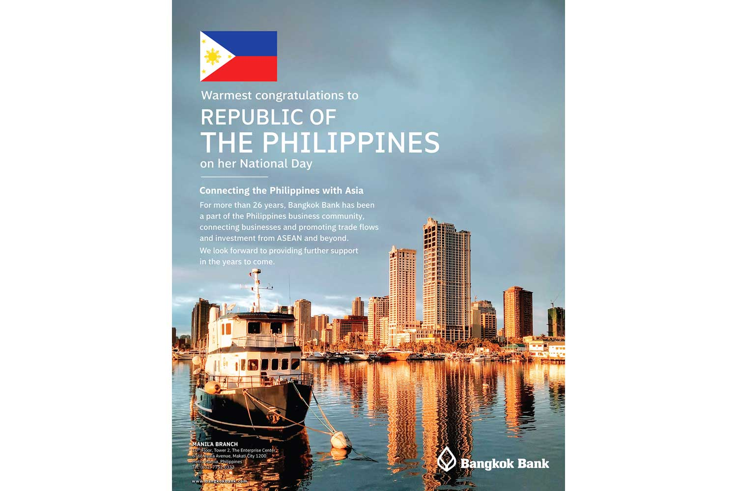 Congratulations to the Philippines people on the 123rd anniversary of their Independence, 12 June