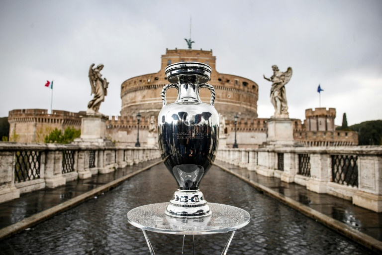 The Euro 2020 trophy on display in Rome, where the competition kicks off on Friday. (AFP Photo)