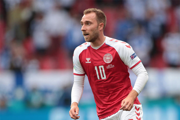 Denmark's Christian Eriksen during the match between Denmark and Finland on Saturday. (Reuters photo)