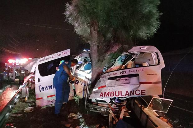 Ambulance crashes during storm, 3 hurt