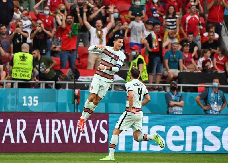 Portugal's Cristiano Ronaldo celebrates scoring their third goal on Tuesday. (Reuters photo)