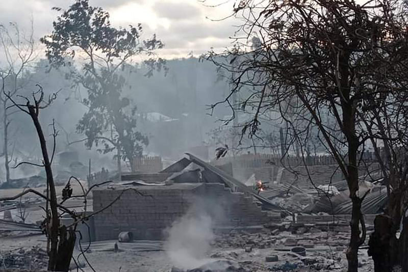 Myanmar junta and villagers trade accusations after houses razed