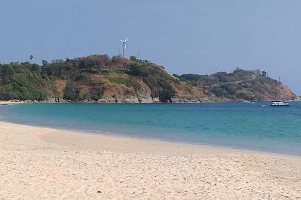 Phuket's Nai Harn beach is empty during the tourism slowdown.