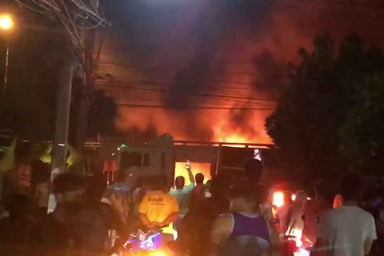 Cargo truck in fiery fatal plunge