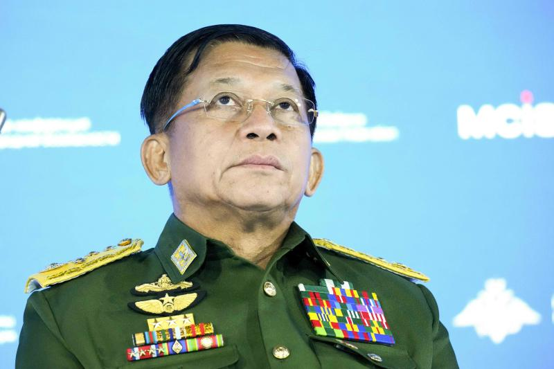 Commander-in-Chief of Myanmar's armed forces, Senior General Min Aung Hlaing, attends the IX Moscow conference on International Security in Moscow on Wednesday. (AFP photo)