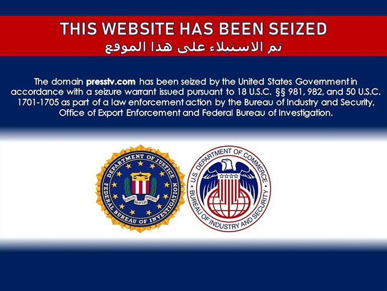This image taken from the website of Iran's Press TV announces that the site was seized by US authorities.