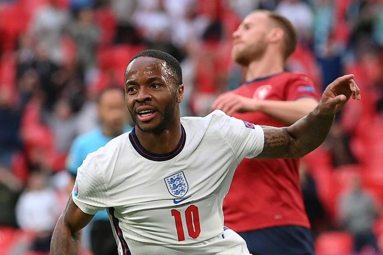 England forward Raheem Sterling celebrates scoring against the Czech Republic.