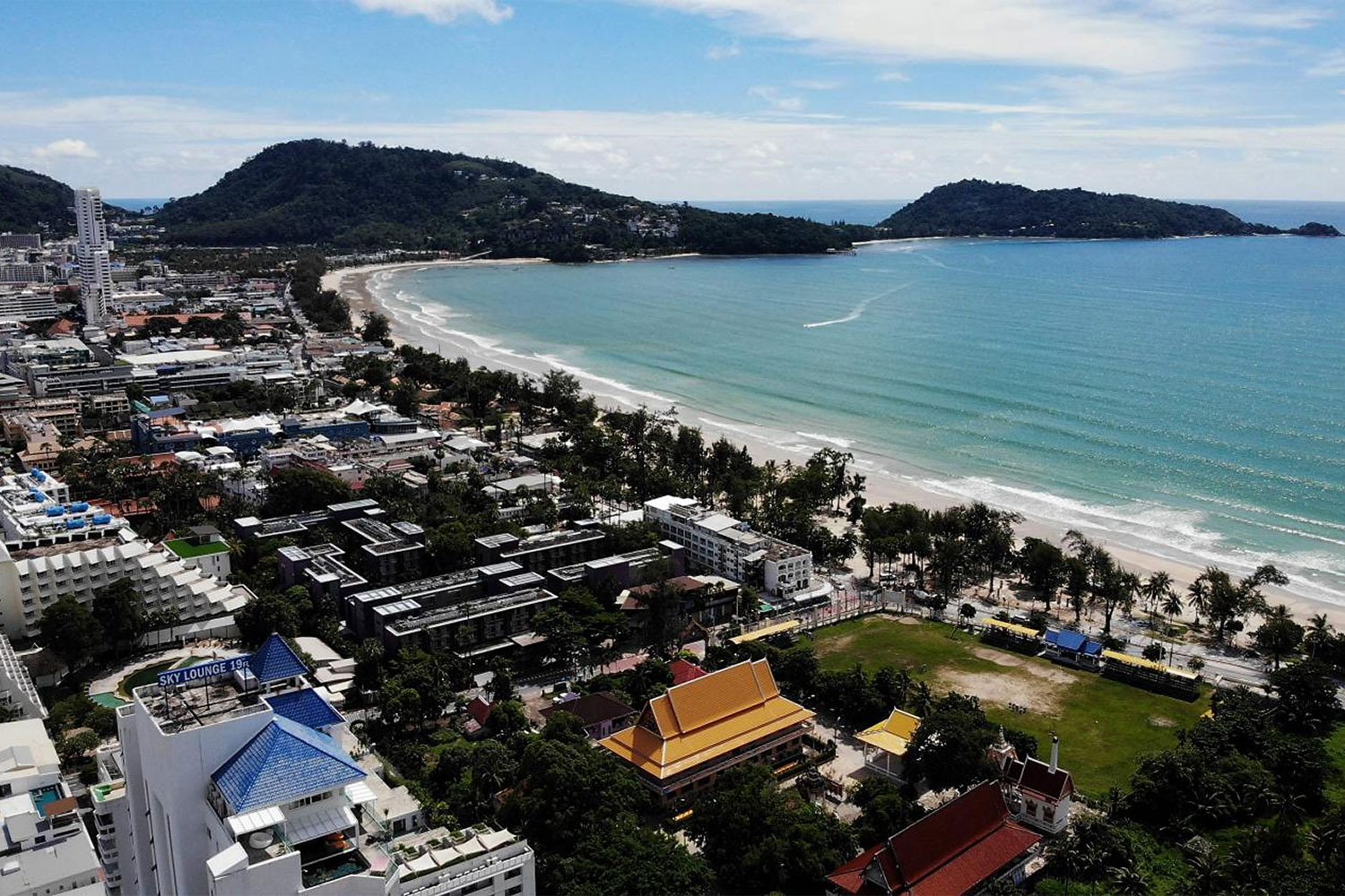 An aerial view of Phuket's Patong beach during the tourism slowdown caused by the Covid-19 pandemic.(Photo: AFP)