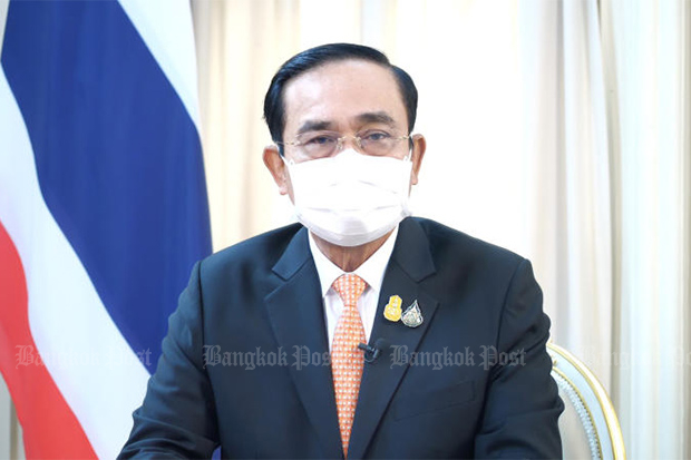 Prime Minister Prayut Chan-o-cha announces the reopening of the country in 120 days in a nationally broadcast programme on June 16, 2021. (Bangkok Post photo)
