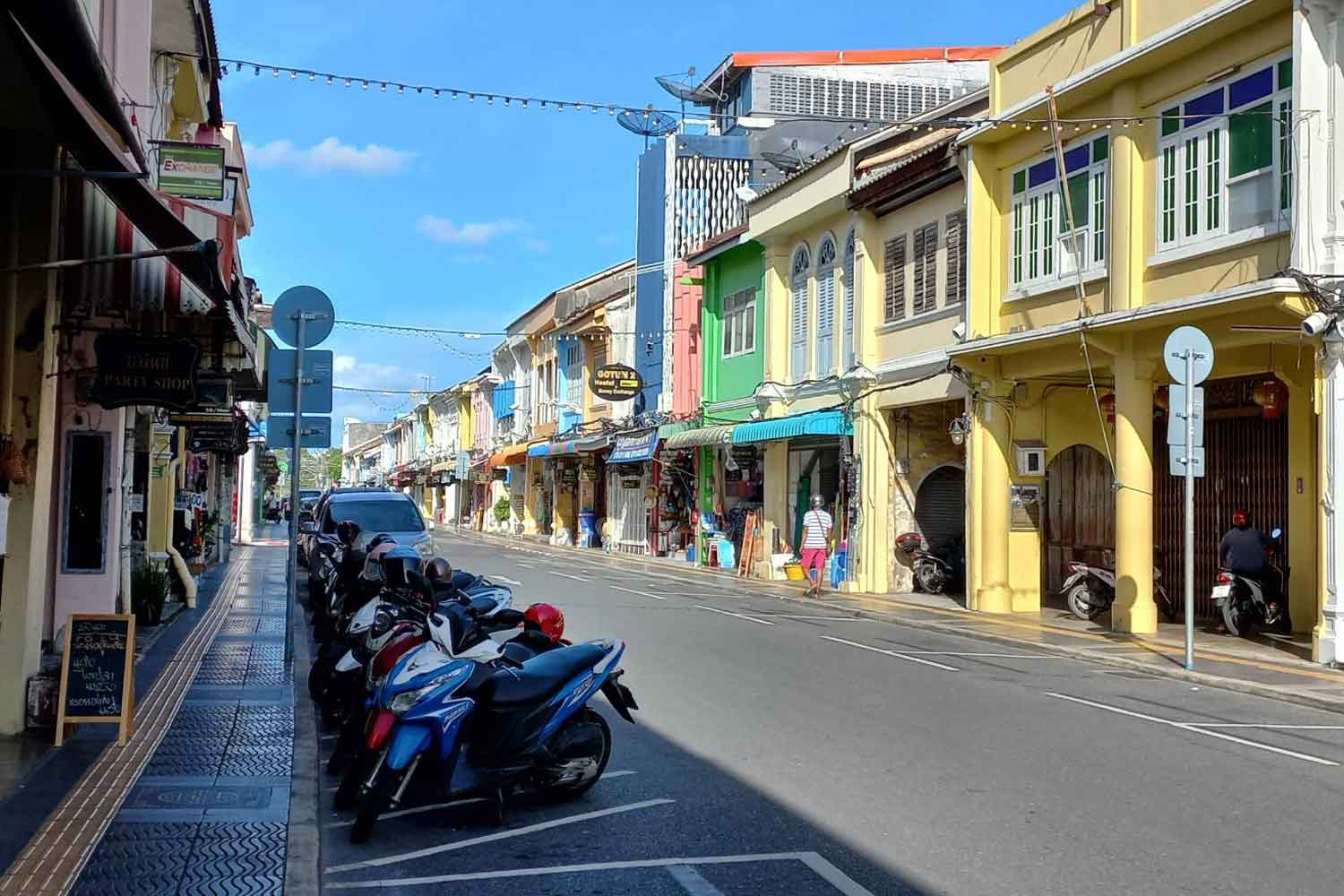 Downtown Phuket was quiet on Wednesday, before the tourist-reliant province reopens to foreign visitors on Thursday. (Photo: Achadthaya Chuenniran)