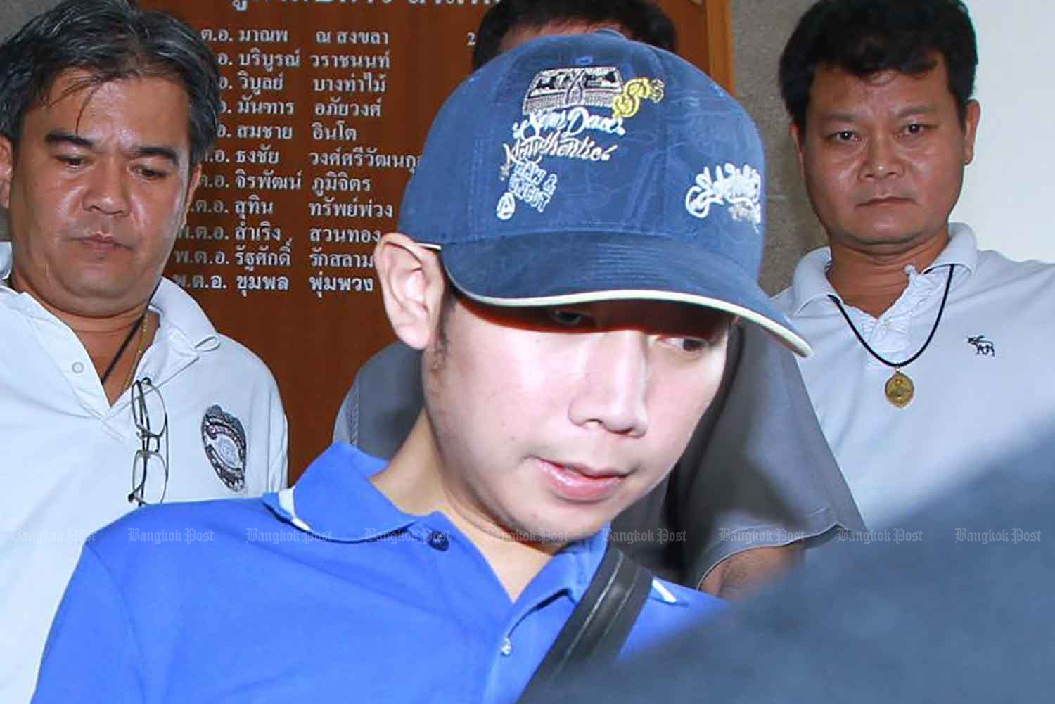 Vorayuth Yoovidhya, 27, known as Boss, is at the Thong Lor police station in Bangkok on Sept 3, 2012, after a black Ferrari ran into a motorcycle about 5.30am on Sukhumvit Soi 47. The motorcycle's rider, Pol Snr Sgt Maj Wichian Klanprasert, 48, of Thong Lor police station, was killed. (Photo: Somchai Poomlard)