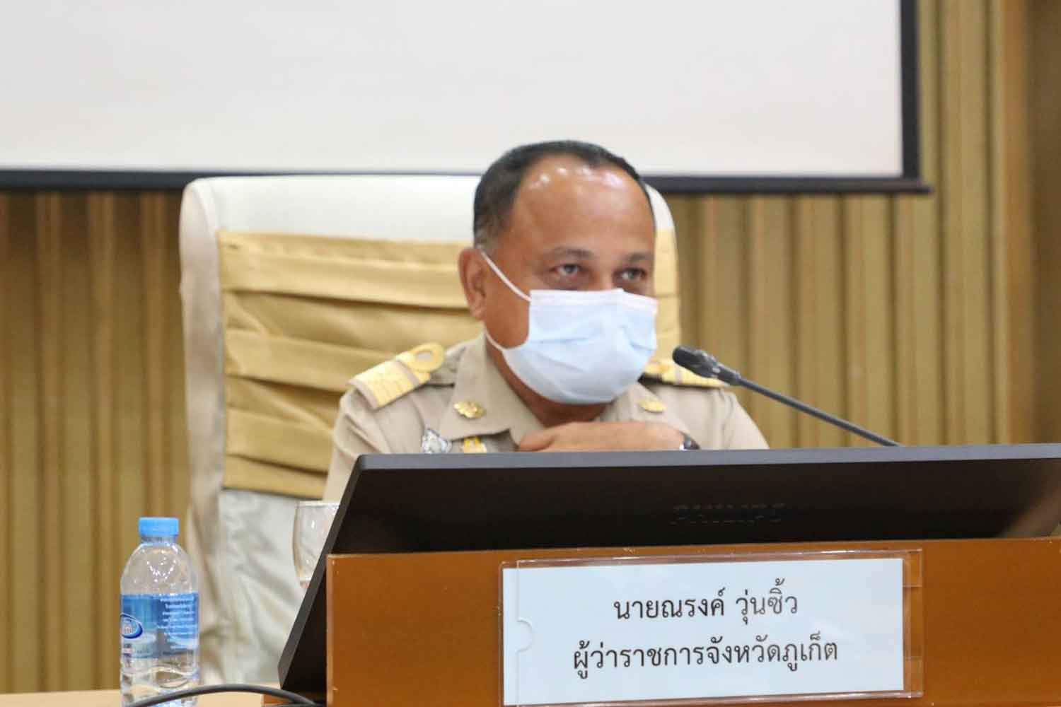 Phuket governor Narong Woonciew at Wednesday's press conference.