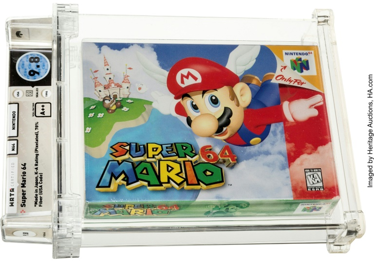 A Super Mario 64 game cartridge sold at auction for $1.56 million, the first ever sale of a game cartridge to surpass $1 million.
