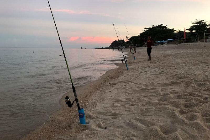 Fishermen are the only people on Lamai Beach on Koh Samui, Surat Thani province on July 3, 2021. (Photo: Dave Kendall)