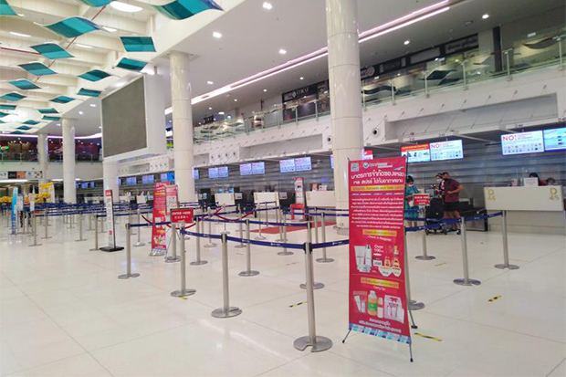 The empty domestic terminal at Phuket airport, still largely without travellers despite the island reopening to tourists on July 1. (Photo: Dusida Worrachaddejchai)
