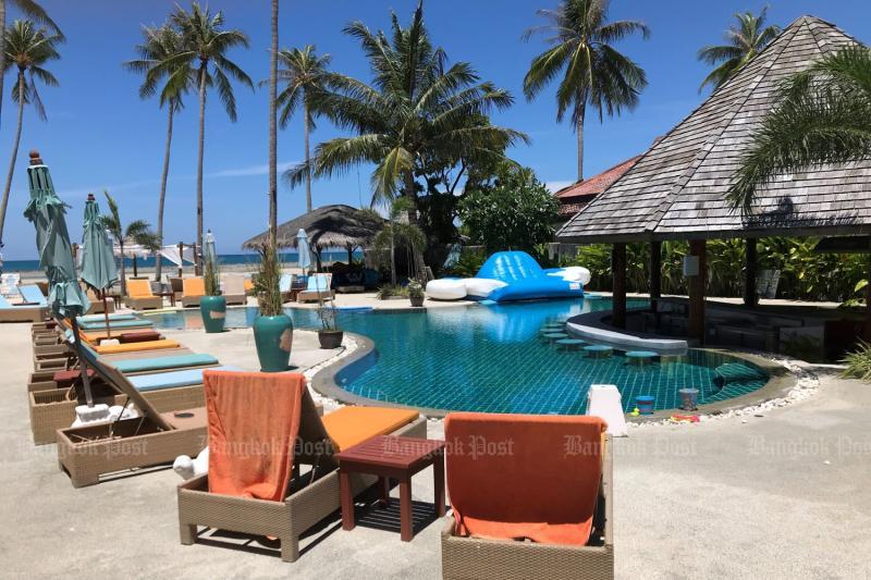 Shiva Samui resort's beach club is completely empty on July 3, 2021, in tambon Maret, Koh Samui, Surat Thani province. (Photo: Dave Kendall)