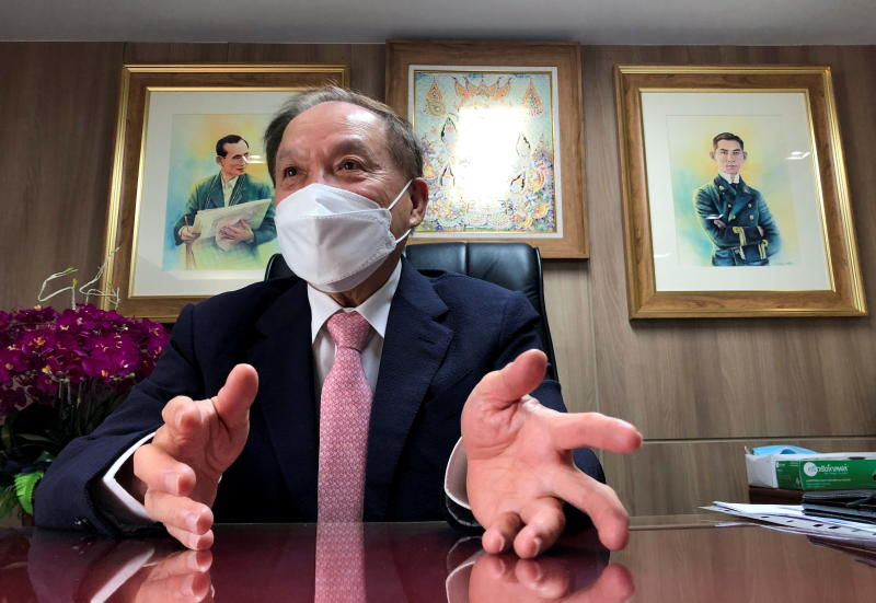 Chairman of Thonburi Healthcare Group, Boon Vanasin, speaks during an interview with Reuters at his office in Bangkok, July 6, 2021. (Reuters photo)