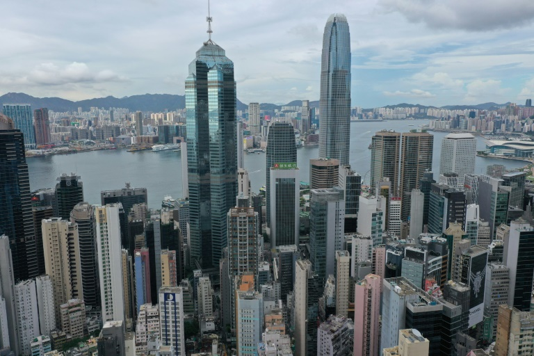 The United States is warning of growing risks to businesses in Hong Kong, seen in May 2021.