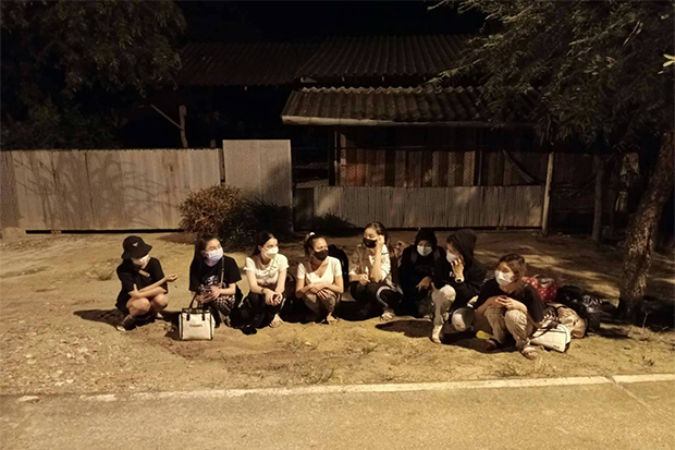 The eight women arrested for illegally entering Mae Sot district, Tak, from Myawaddy on Monday morning. (Photo: Assawin Pinitwong)
