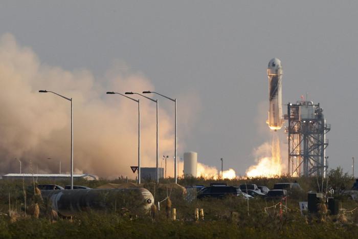 Jeff Bezos blast off on rocket in flight to space
