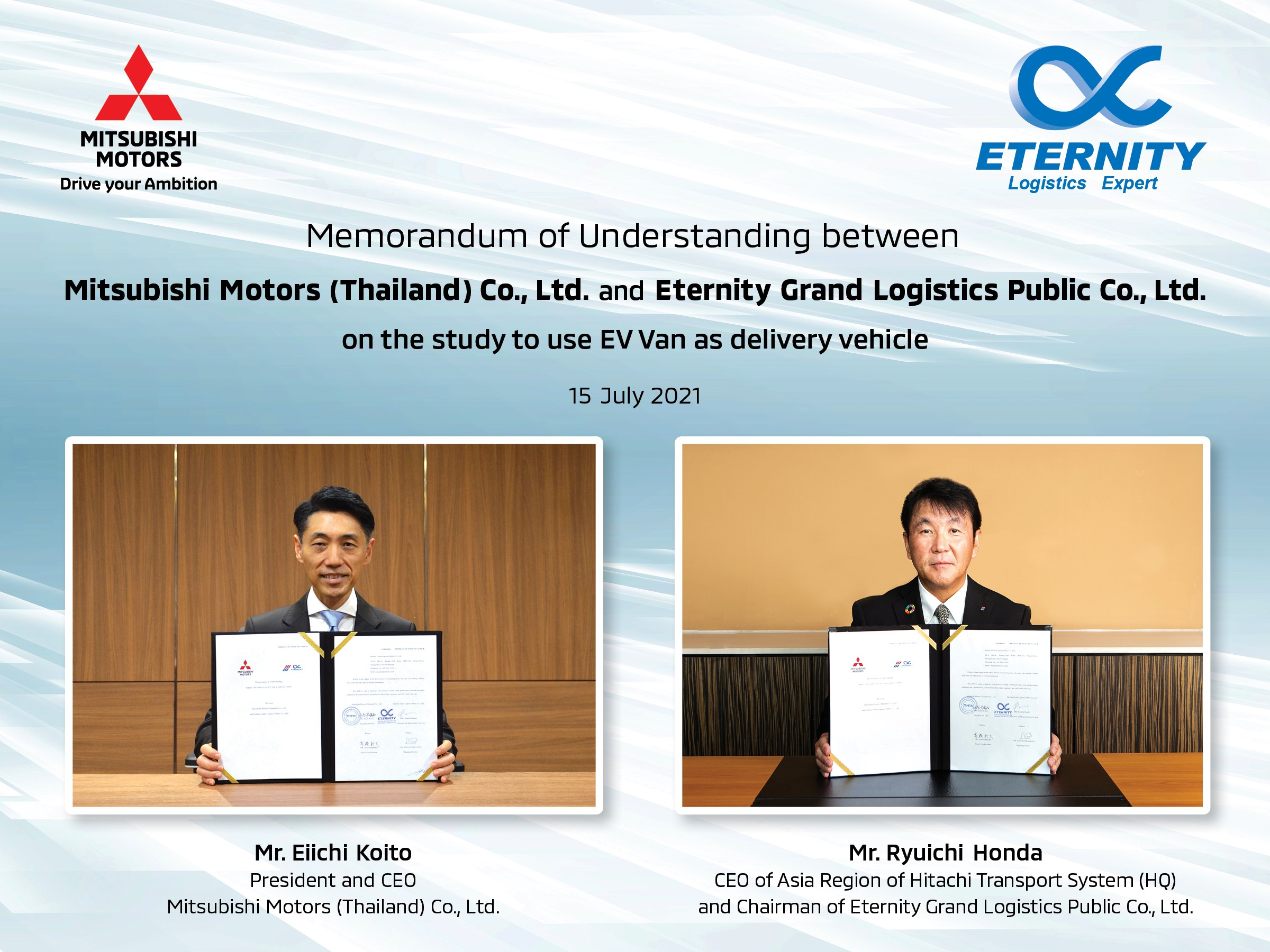 Mitsubishi Motors Thailand signs MoU with Eternity Grand Logistics to do a pilot study on Commercial Use of BEVs