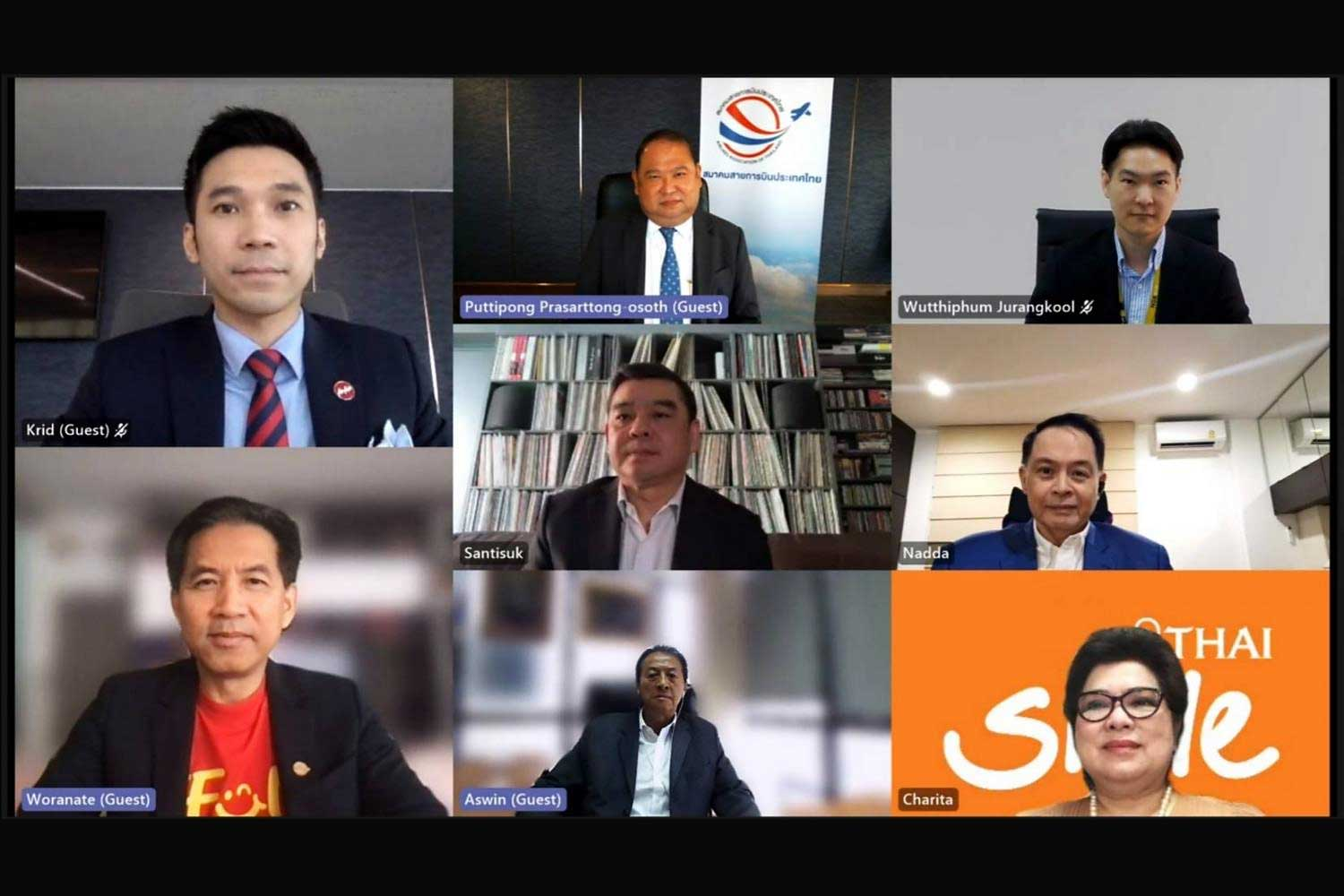 A screenshot captures senior executives of seven Thai airlines and the moderator (top left) during a virtual press conference held on Wednesday.