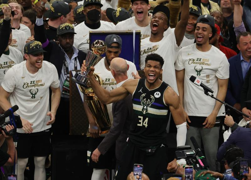 Giannis Antetokounmpo of the Milwaukee Bucks celebrates winning the NBA Finals MVP Award after defeating the Phoenix Suns in Game Six to win the 2021 NBA Finals at Fiserv Forum on Tuesday in Milwaukee, Wisconsin. (AFP photo)