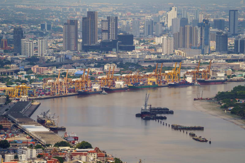 Ships berthed at Klong Toey port in Bangkok. Thailand's exports surged to the highest level in 11 years in June. (Photo: Reuters)