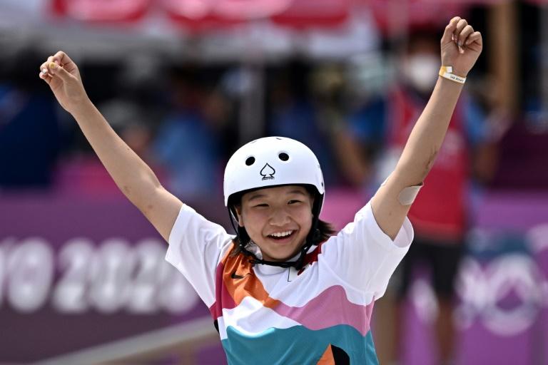 Japan's Nishiya, 13, wins inaugural women's Olympic skateboard gold