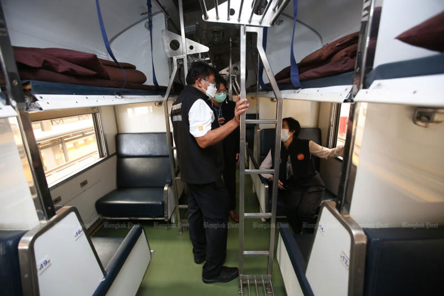 Fifteen sleeping carriages at Bang Sue Grand Station will be used as an isolation facility for Covid-19 infected people. The facility is expected to receive patients on July 30. (Photo: Pattarapong Chatpattarasill)