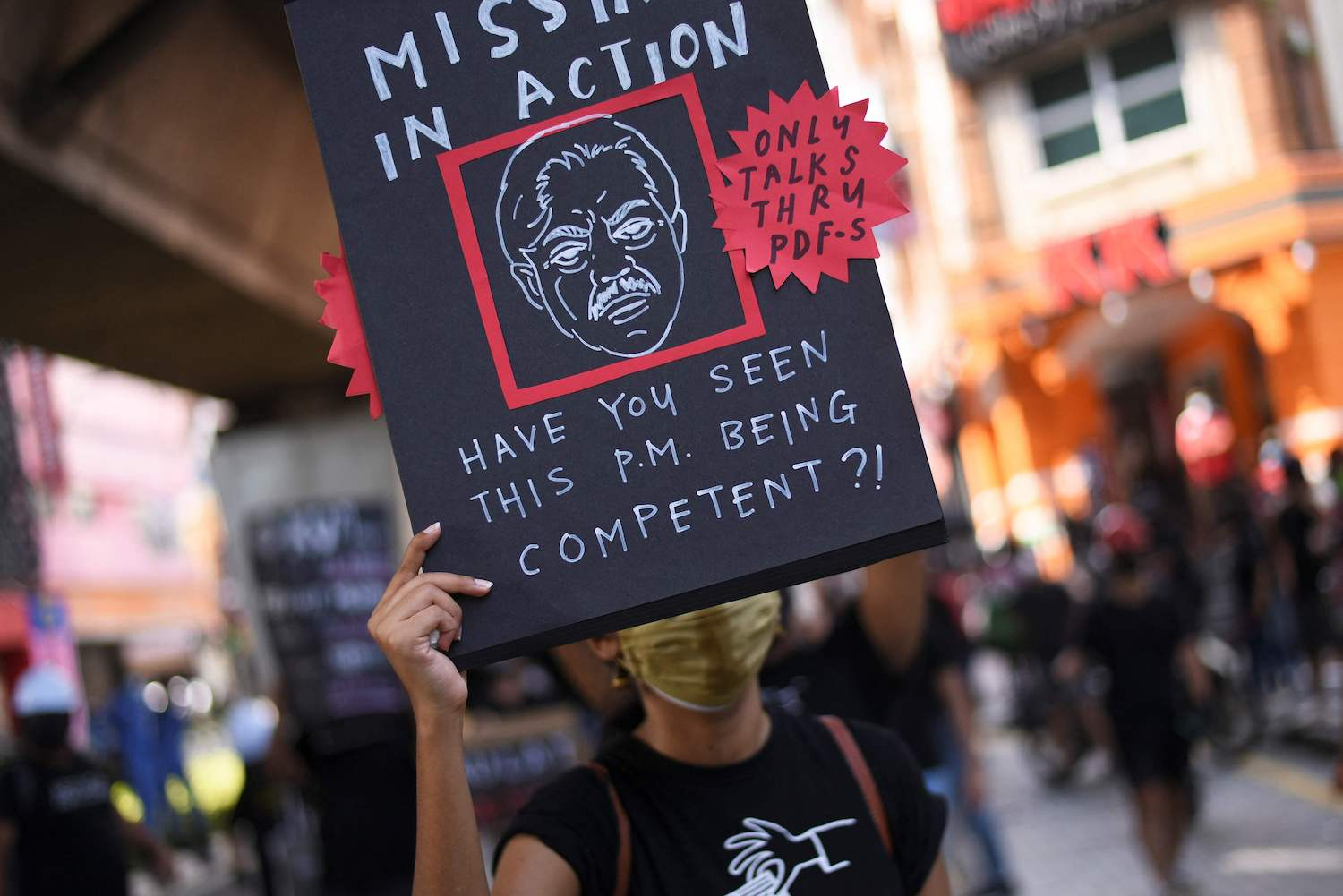 Black-clad Malaysians stage rare protest