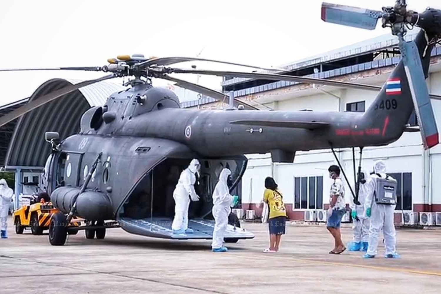 Army helicopter flies Covid patients home