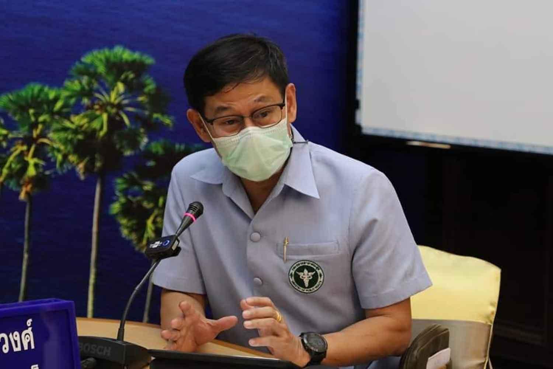 Phuket health chief Dr Koosak Kookiatkul speaks to reporters on Wednesday. (Photo: Achadthaya Chuenniran)