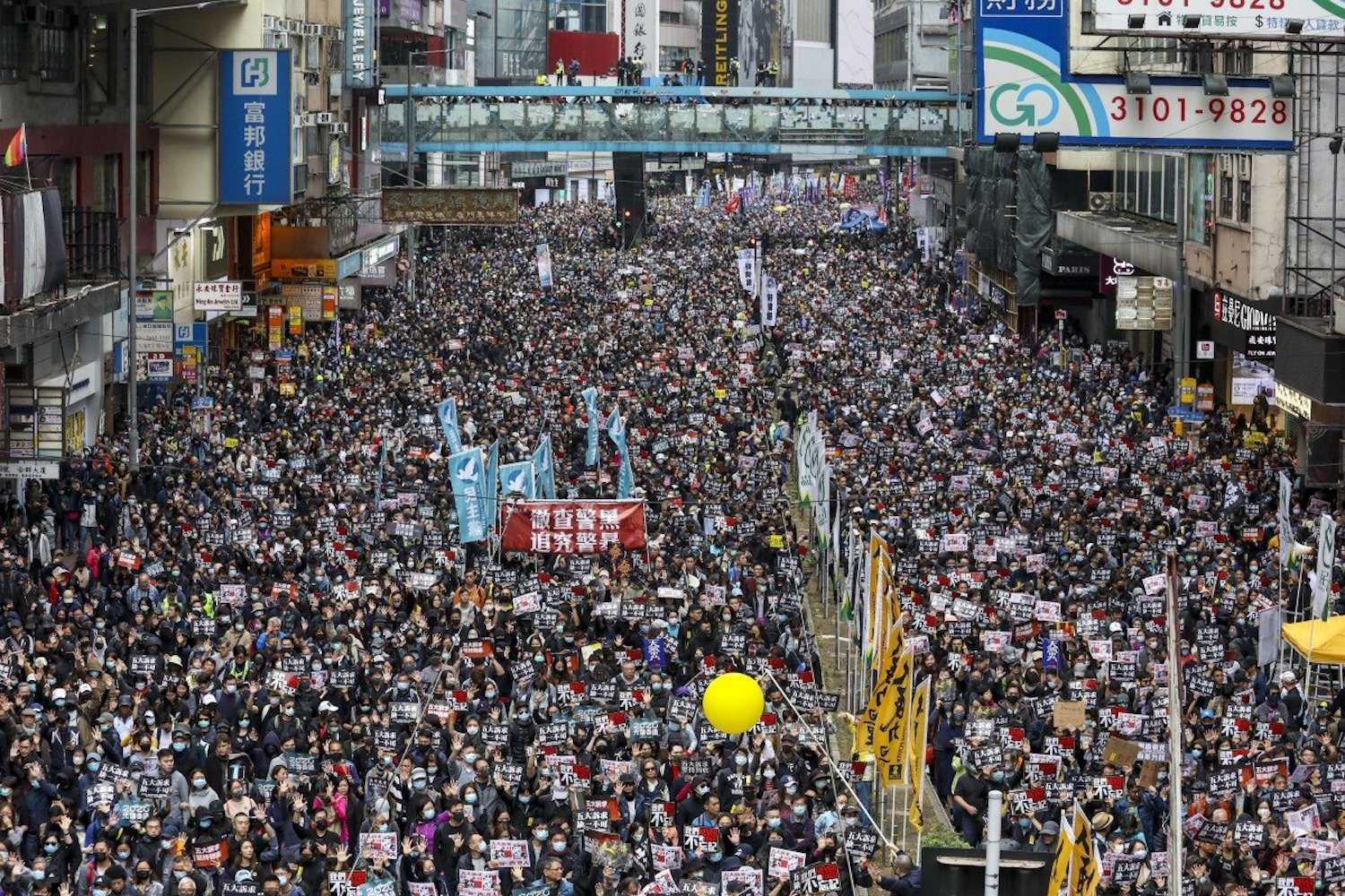 Anti-government protesters rally in Hong Kong on New Year's Day 2020 in a march organised by the Civil Human Rights Front, which is preparing to disband. (Photo: Nora Tam/South China Morning Post)