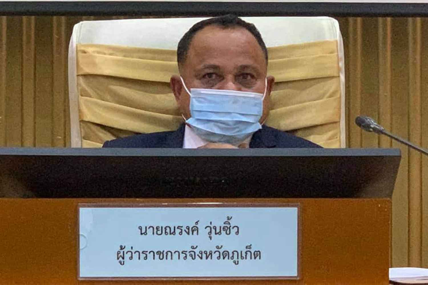 Phuket governor Narong Woonciew at Tuesday's press conference on the latest Covid-19 prevention measures.