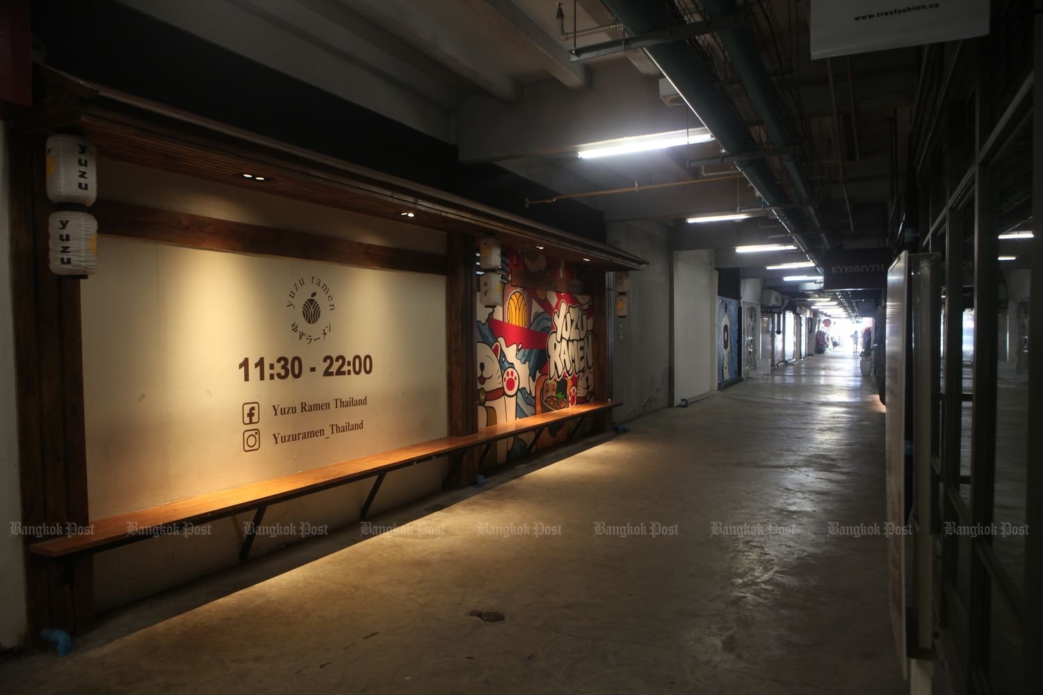 Shops at Siam Square in Bangkok are closed on Monday as few customers visit the once-vibrant shopping district due to Covid-19 restrictions. (Photo by Apichart Jinakul)