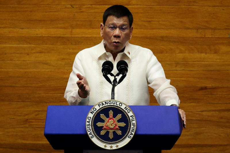FILE PHOTO: Philippine President Rodrigo Duterte gestures as he delivers his 6th State of the Nation Address (SONA), at the House of Representative in Quezon City, Metro Manila, Philippines, July 26, 2021. (Reuters)