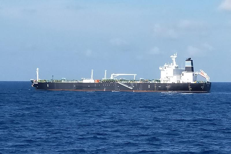 The Bahamian-flagged MT. Strovolos is seen near the Riau islands after Indonesia's navy said it had seized the tanker and its crew who were wanted on charges of stealing nearly 300,000 barrels of crude oil from Cambodia's reserves. (AFP PHOTO / INDONESIAN NAVY)