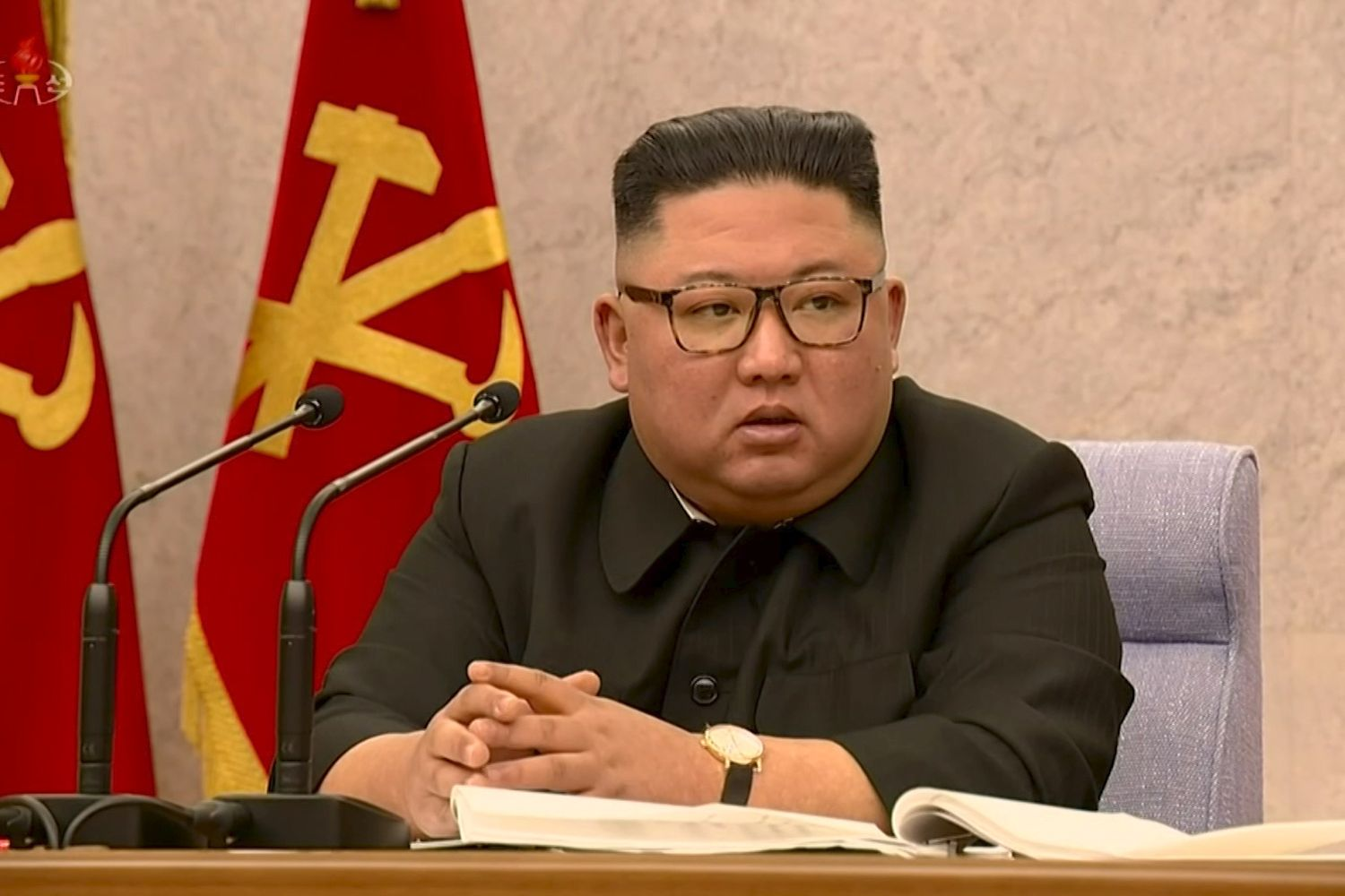 North Korean leader Kim Jong Un speaks at the second plenary meeting of the 8th Central Committee of the Workers' Party in this still image taken from a KRT footage on Feb 12 this year. (KRT TV via Reuters)